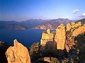 Rocky coast, erosion, Les Calanche near Porto, west coast Corsica, France