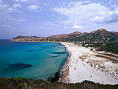 Beach, protected area, Ostriconi, estuary mouth, L'lle Rousse, Corsica, France