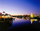 Townscape with Torre del Oro, Moorish watchtower at the ancient river port, Restaurant Rio Grande, Guadalquivir River, Sevilla, Seville, Andalusia, Spain