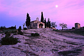 St. Sixte chapel in the afterglow, Bouches du Rhone, Provence, France, Europe