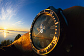 Midnight Sun with wristwatch showing the time, Watch, Steigen, Northland, Norway