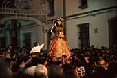 Pilgrims carrying their Madonna through the town, Almonte, Andalusia, Spain