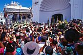 Pilgrims in front of pilgrimage church Ermita del Rocio, El Rocío, Andalusia, Spain, Europe
