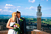 Bridal couple, Torre del Mangia, Siena, Tuscany, Italy