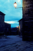 Streets of old town in the evening, Volpaia near Radda, Chianti, Tuscany, Italy