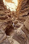 Man walking through the Coloured Canyon, Sinai, Egypt, Africa