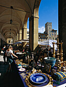 Antiques in the market of Arezzo, Arezzo, Tuscany, Italy