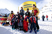 Ski Kids with Instructor, after race with medals, Wirl near Galtuer, Tirol, Austria