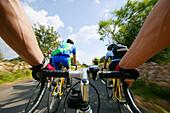 People on a cycle tour, Majorca, Balearic Islands, Spain