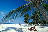 Deck chair on a sandy beach, Tulum, Quintana Roo, Yucatán, Mexico