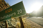 Road sign near Oudtshoorn, Western Cape, South Africa, Africa