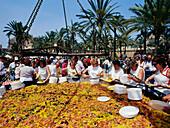 Giant paella, festivity, Parc de la Mar, Palma de Mallorca, Mallorca, Majorca, Balearic Islands, Spain