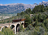 Railway bridge with train, Soller, Majorca, Spain