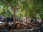 Streetcafes at Placa Costitucio, Soller, Majorca , Spain
