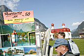 Postcards for sale, Close up of postcards, St.Bartholomae, Lake Koenigssee, Berchtesgaden, Bavaria, Germany