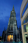 Ulm Cathedral at night, Ulm, Baden Wurttemberg, Germany