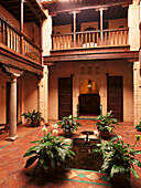 Deserted patio of the Casa Morisca hotel, Albaicin, Granada, Andalusia, Spain, Europe