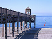 Footbridge at the beach, La Herradura, Costa del Sol, Mediterranean Sea, Province of Granada, Andalusia, Spain