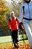 Young women Nordic Walking, Nordic Walking, Herbst, Young Woman, Nordic Walking, Voralpenland, Germany, Junge Frau, Nordic Walking, Herbst, Voralpenland Oberambach am Starnberger See, 2005