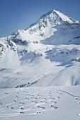Skiing tracks in powder snow, Kuehtai, Gaiskogel, Tyrol, Austria