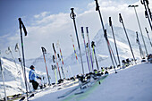 Skis and sticks in front of ski hut, Kuehtai, Tyrol, Austria