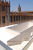 White stairway in front of Caixa Forum, Barcelona, Spain, Europe