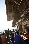 People at Kaiser Maximilians hut, Kuehtai, Gaeste an der Kaiser Maximilian Huette, Tirol, Oesterreich Tyrol, Austria
