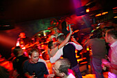 Live band in a tavern, audience in a good mood, Soelden, Band PlanB2 with lead singer Stefan in Bierhimml, Soelden, Oetztal, Austria