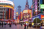 Shopping area with illuminated advertising, Nanjing lu at night, Shanghai, China