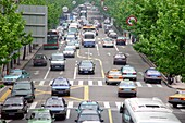 Cars on the street at the rush hour, Shanghai, China, Asia