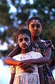 Vezo girls, face paintings, Madagascar