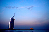Burj al Arab hotel at dusk, Dubai, UAE, United Arab Emirates, Middle East, Asia