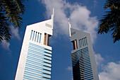 Emirates Towers under clouded sky, Dubai, UAE, United Arab Emirates, Middle East, Asia