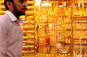Arab and golden jewellery at a souk at Deira, Dubai, UAE, United Arab Emirates, Middle East, Asia