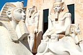 Egyptian scultures in the sunlight, Wafi Shopping Center, Dubai, UAE, United Arab Emirates, Middle East, Asia