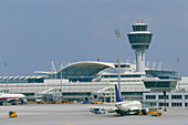 Munich Airport, Tower and new Terminal, Munich, Germany