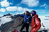 Blick vom Midfellseg, Ueber Gletscher Brokarjoekull Vatnajoekull, , Island