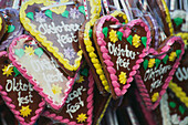 Close-up of gingerbread hearts, Oktoberfest, Munich, Bavaria, Germany