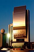 National Bank of Dubai at Dubai Creek in the evening light, Dubai, UAE, United Arab Emirates, Middle East, Asia