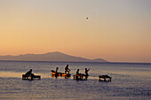 Fishingmen with logboat near Moyagalpa, Isla de Ometepe, Lake Nicaragua, Nicaragua