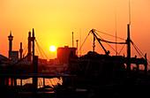 Boats on Dubai Creek at sunset, Dubai, UAE, United Arab Emirates, Middle East, Asia