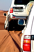 Jeeps on a dune in the desert, Dubai, UAE, United Arab Emirates, Middle East, Asia