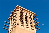 Wind tower under blue sky, Dubai, UAE, United Arab Emirates, Middle East, Asia