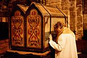 Devotion to the Maries, relics shrine, fortified church, Saintes Maries-de-la-Mer, Camargue, Bouches-du-Rhone, Provence, France