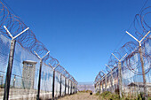 Barbed wire fence on Robben Island, former prison, Cape Town, South Africa, Africa