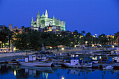 Fisching port and cathedral la seu in the evening light, Palma cathedral, Palma de Mallorca, Mallorca, Balearen, Spain