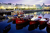 Townscape with Galerias, glazed verandahs, harbour, Avenida de la Marina, La Coruna, Galicia, Spain