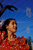 Flamenco dancing girl, Feria del Caballo, festivity, Jerz de la Frontera, Province of Cadiz, Andalusia, Spain