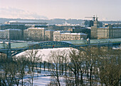 Pedestrian bridge across river Moskva, Moscow Russia