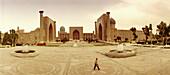 Square with mosque, Madrassah, Samarkand, Silk Road, Uzbekistan